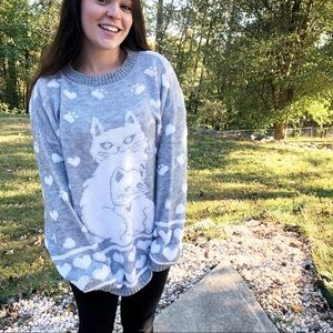 Vintage oversized comfy cat & heart print sweater